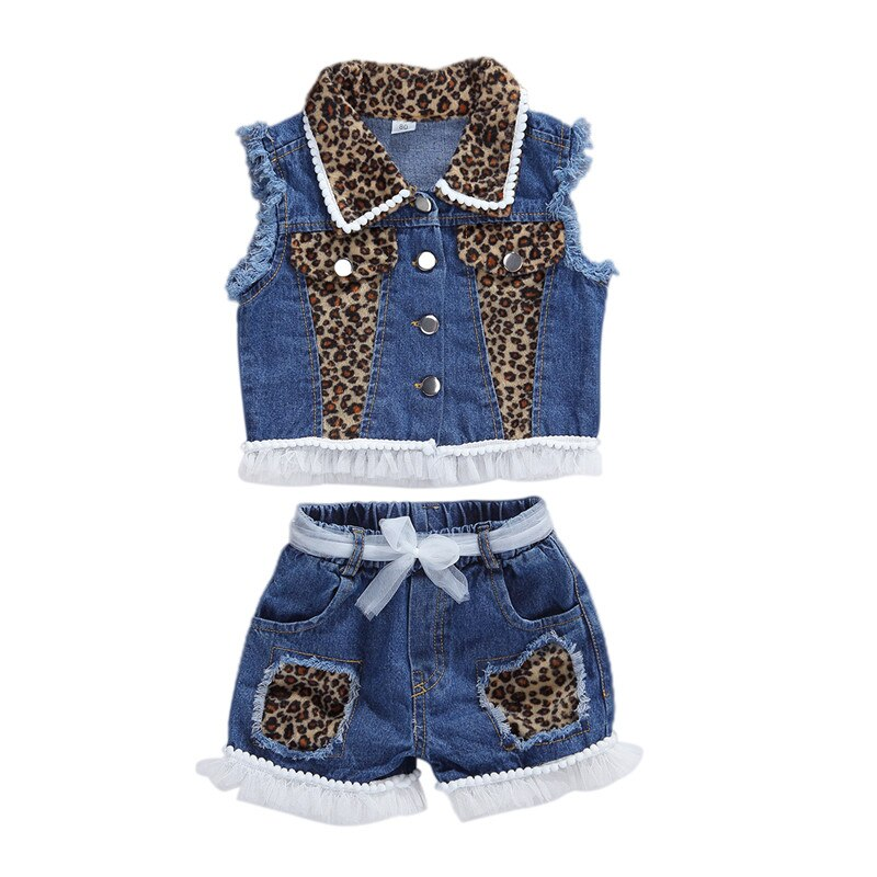 Leopard Double Denim Shorts Set