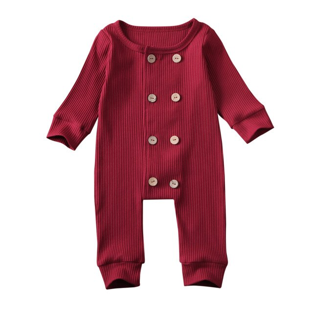 Double Button Onesie - Burgundy