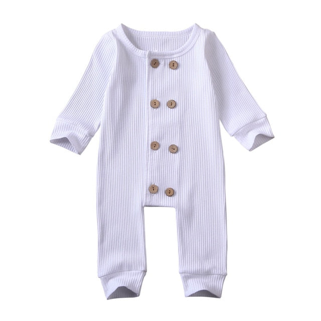 Double Button Onesie - White