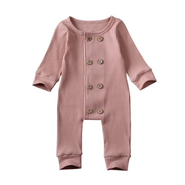 Double Button Onesie - Dusty Pink