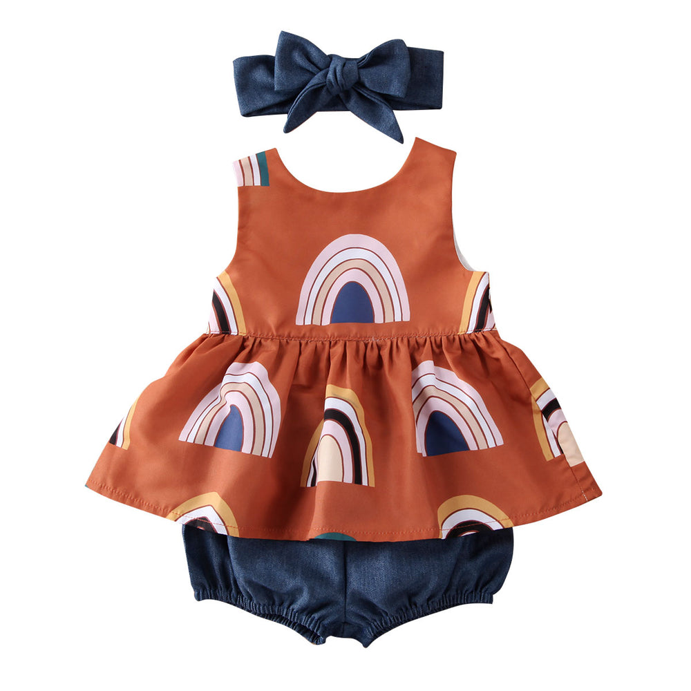 Navy & Rust Rainbow Bloomer Set