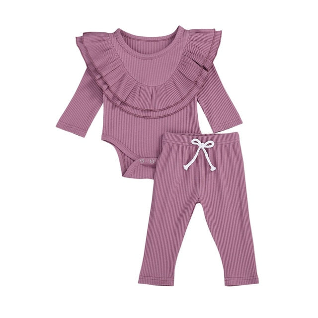 Collar Bodysuit Set - Purple