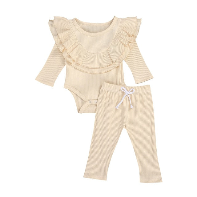 Collar Bodysuit Set - Beige