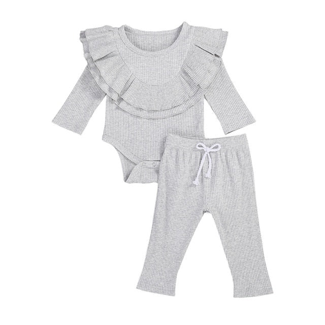 Collar Bodysuit Set - Grey