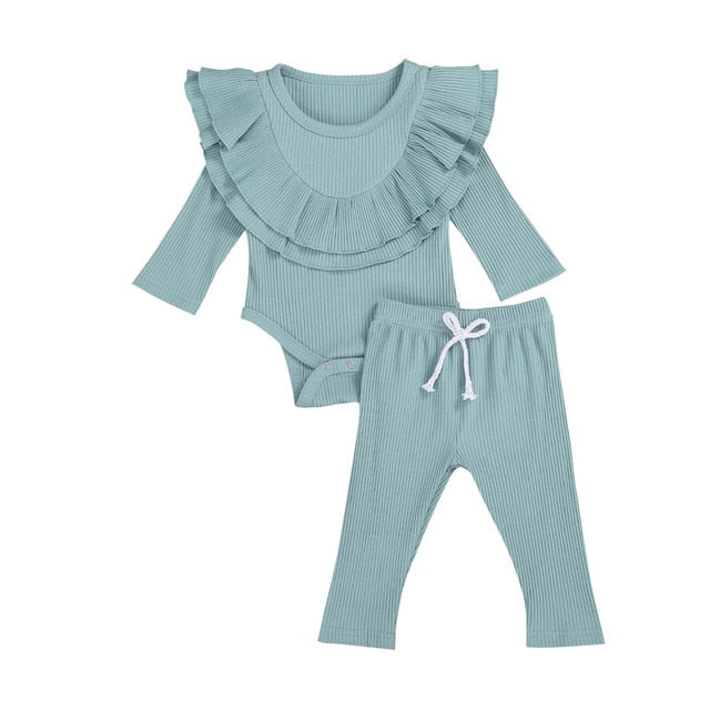 Collar Bodysuit Set - Blue