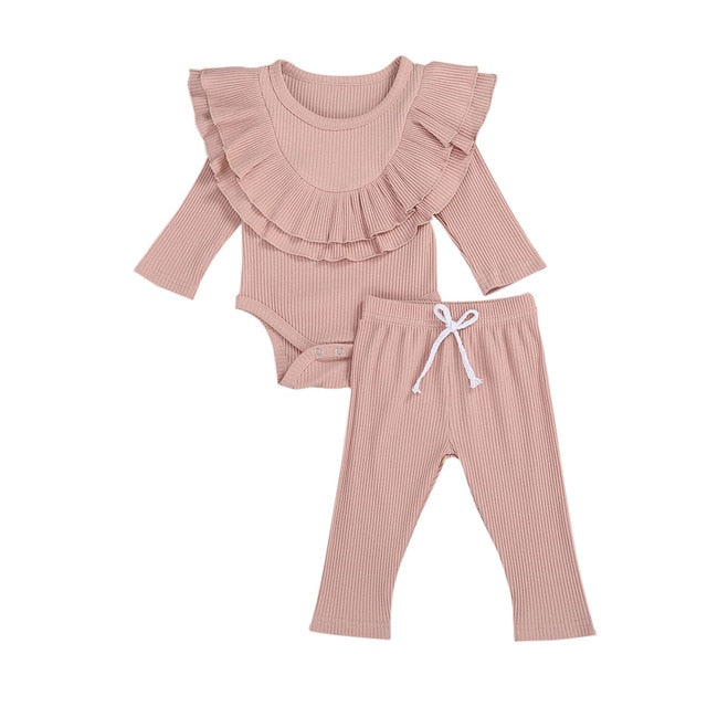 Collar Bodysuit Set - Pink