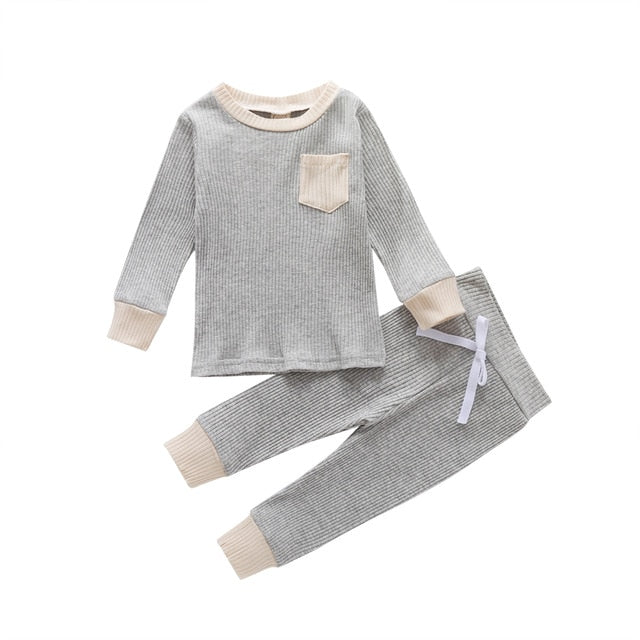 Pocket Ribbed Set - Grey
