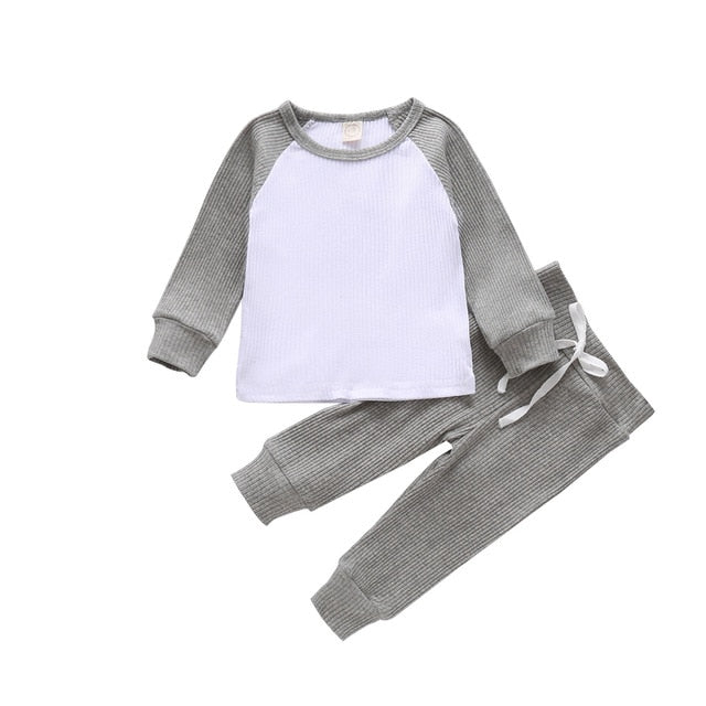 Contrast Ribbed Set - Grey