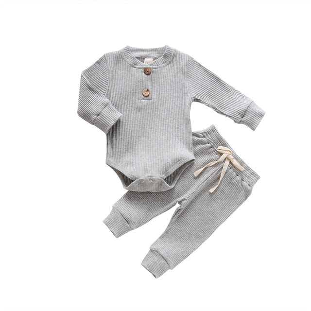 Ribbed Basic Tracksuit - Grey