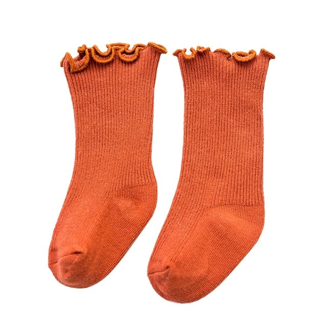Frill Top Socks - Rust