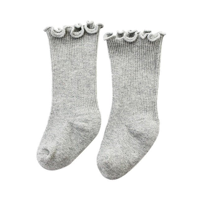 Frill Top Socks - Grey