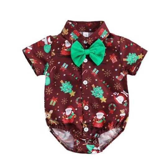 Christmas Bow Tie Bodysuit - Brown