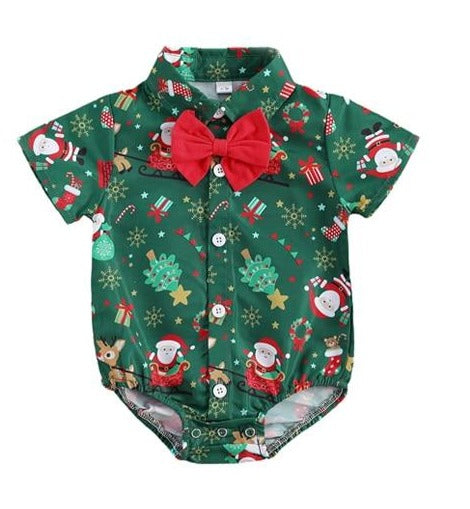 Christmas Bow Tie Bodysuit - Green
