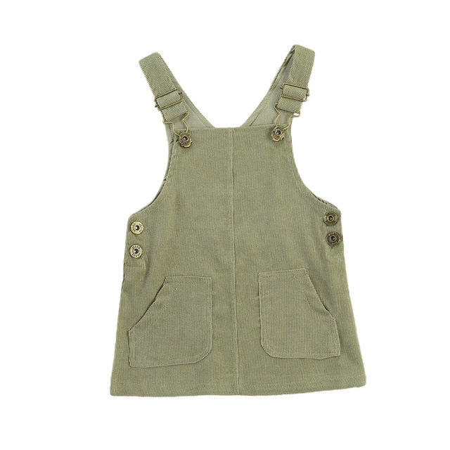 Cord Dungaree Dress - Olive