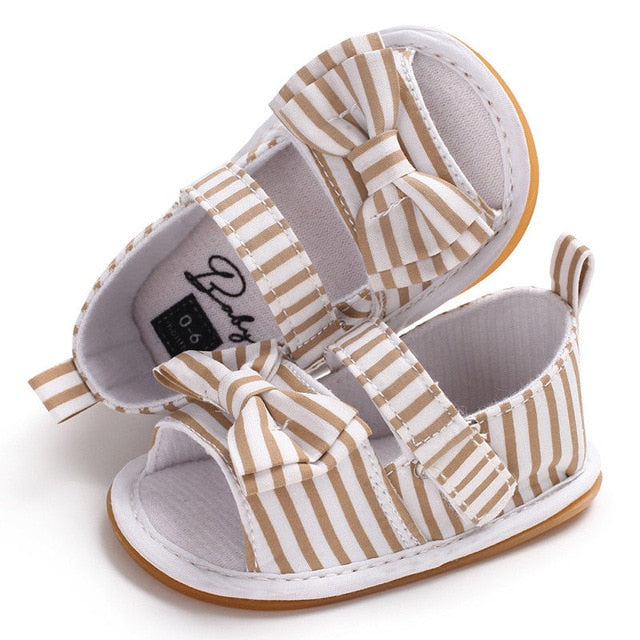 Bow Sandal - Tan Stripe