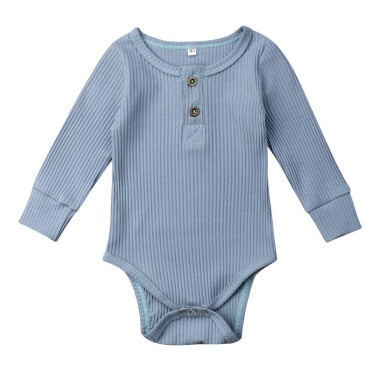 Henley Long Sleeve Bodysuit - Blue