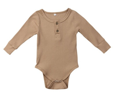 Henley Long Sleeve Bodysuit - Latte