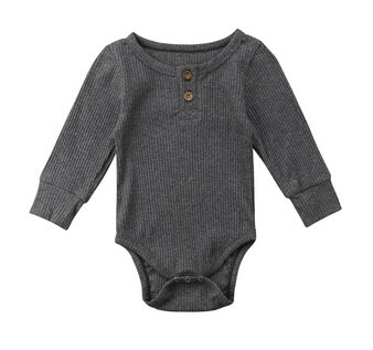 Henley Long Sleeve Bodysuit - Grey