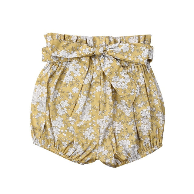 Crumple Shorts - Yellow Floral