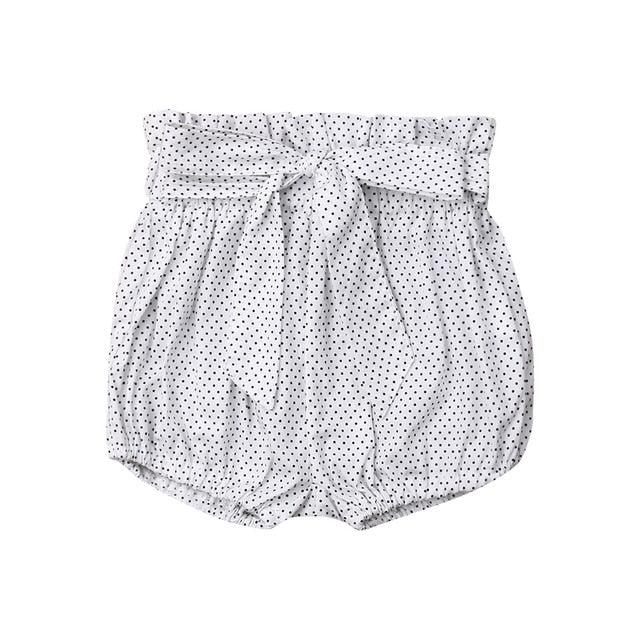 Crumple Shorts - White Polkadot
