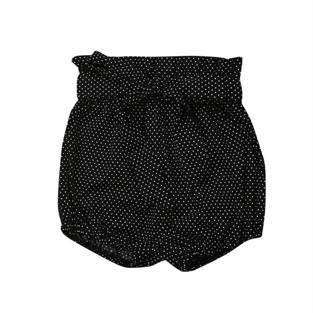 Crumple Shorts - Black Polkadot