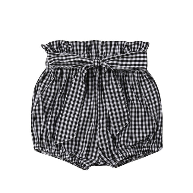 Crumple Shorts - Black Checks