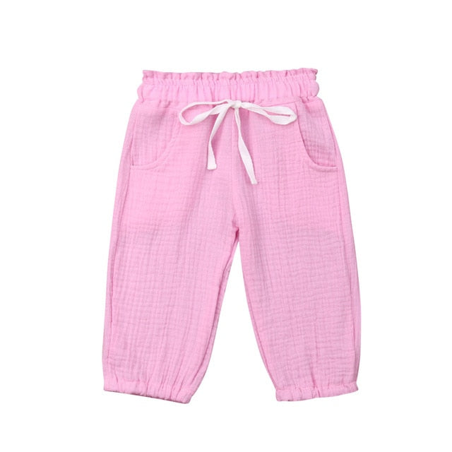 Cotton Harem Pants - Pink