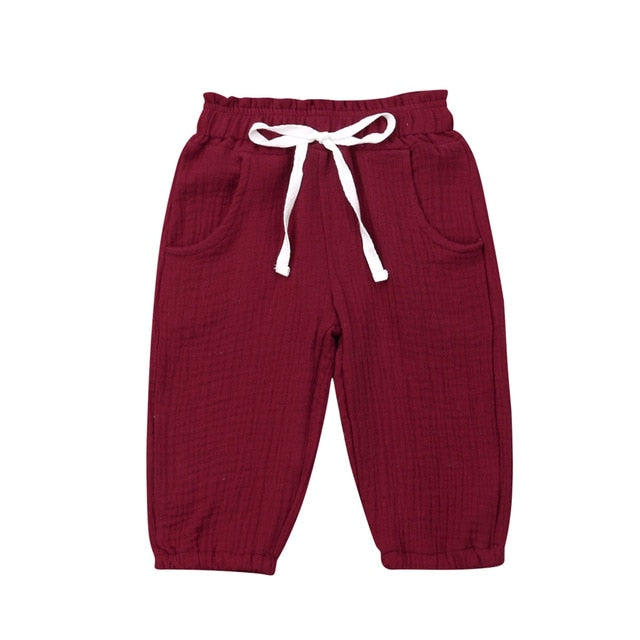 Cotton Harem Pants - Maroon