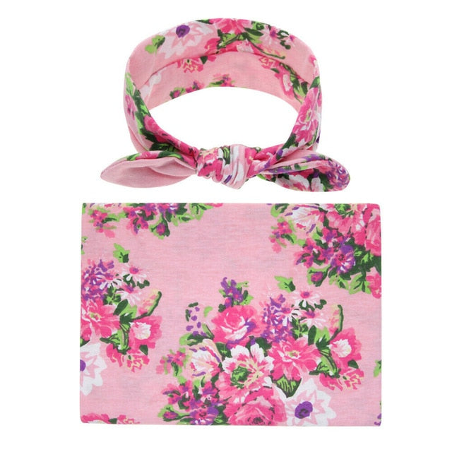 Swaddle Wrap + Headband - Pink