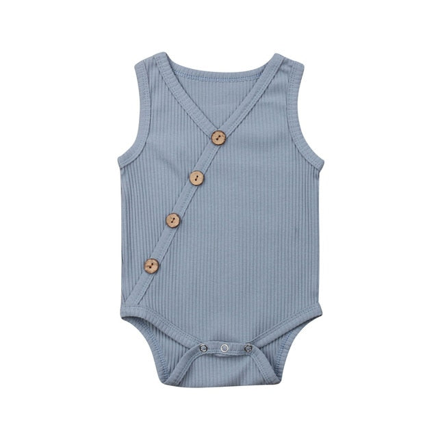 Button Bodysuit - Grey Blue