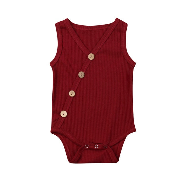 Button Bodysuit - Dark Red