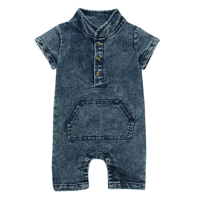 Denim Pocket Onesie - Blue
