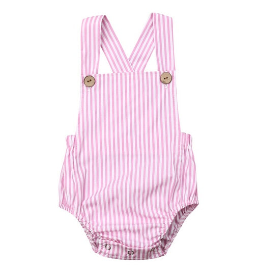 Basic Romper - Pink Stripe