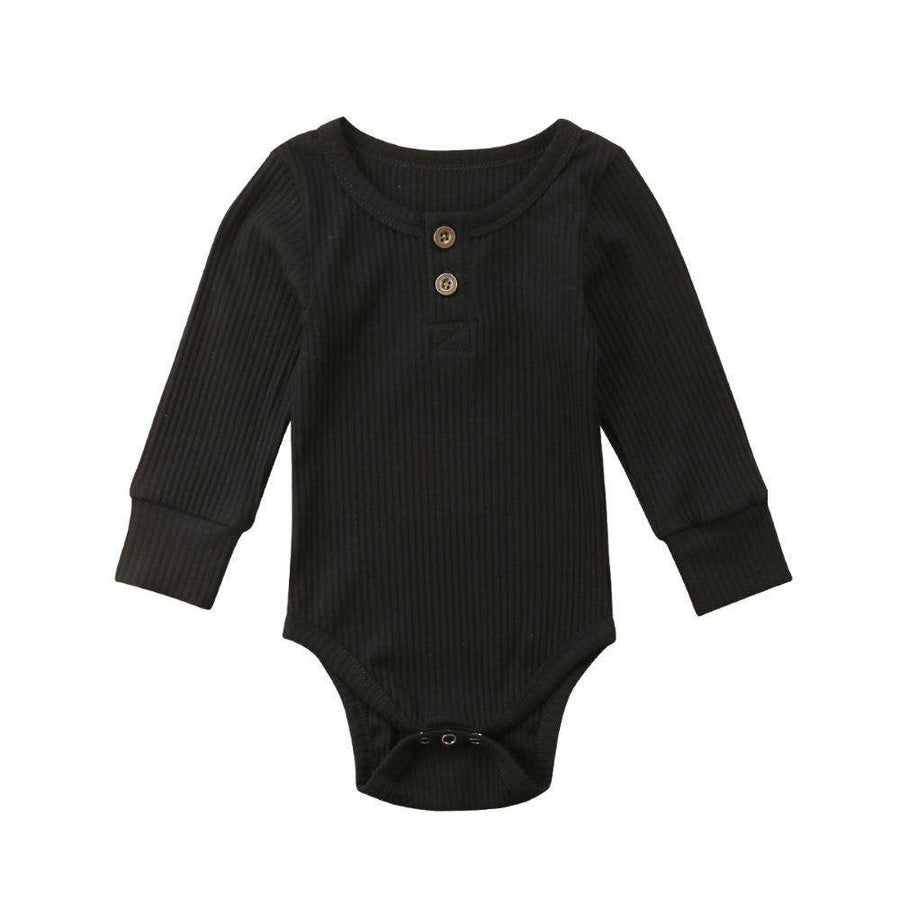 Rib Button Bodysuit - Black
