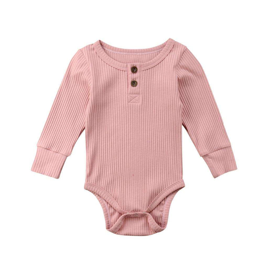 Rib Button Bodysuit - Blush