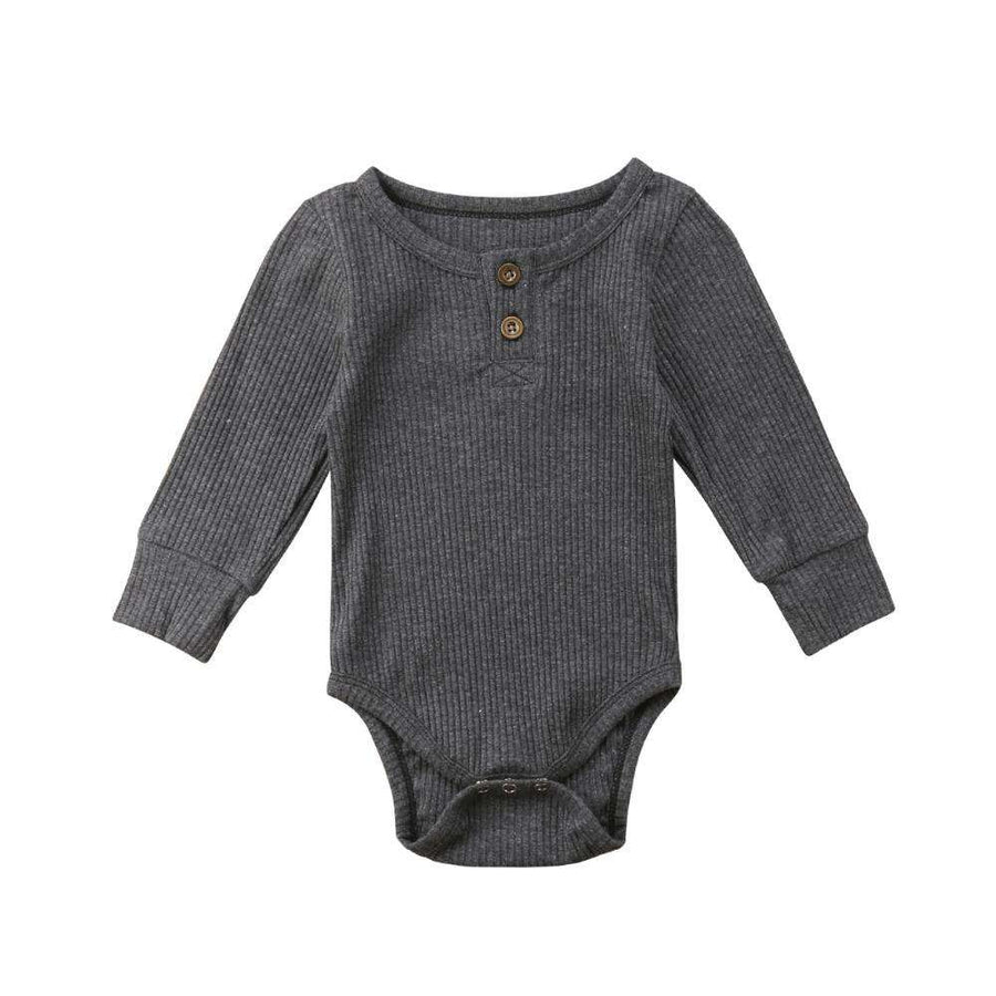 Rib Button Bodysuit - Grey