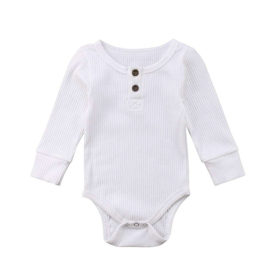 Rib Button Bodysuit - White