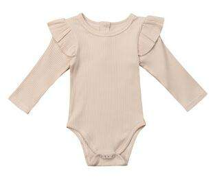 Ribbed Flutter Bodysuit Long Sleeve - Beige