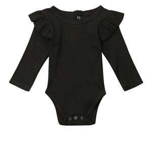 Ribbed Flutter Bodysuit Long Sleeve - Black