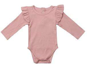 Ribbed Flutter Bodysuit Long Sleeve - Pink