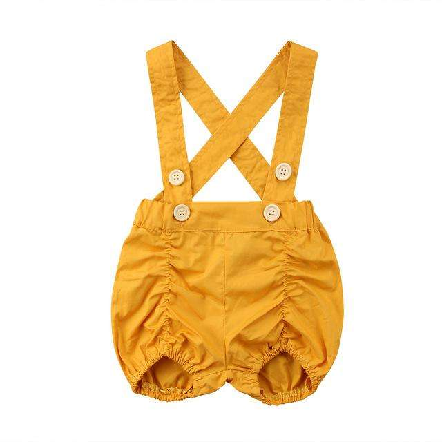 Suspender Shorts - Yellow