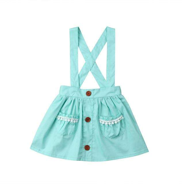 Suspender Skirt - Aqua