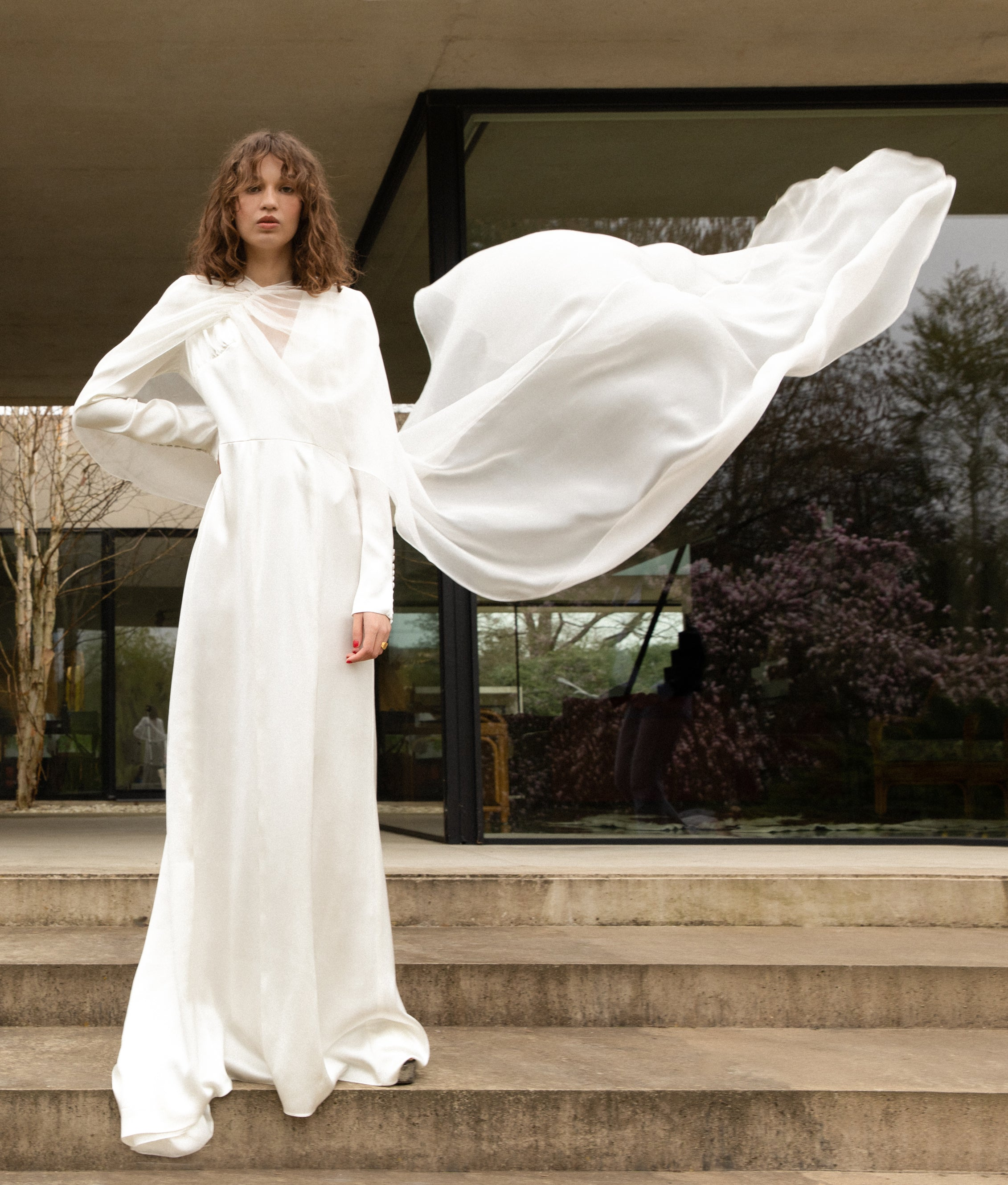 Load image into Gallery viewer, STYLE 037 // SILK CHIFFON CAPE