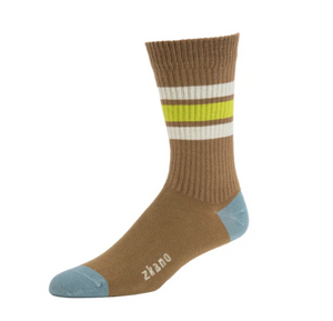 Men's Heavy Rib Striped Crew Sock in Mushroom
