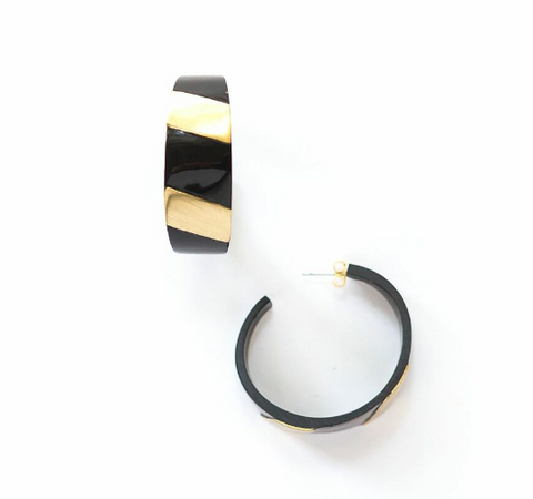 Retro Horn + Brass Striped Hoops