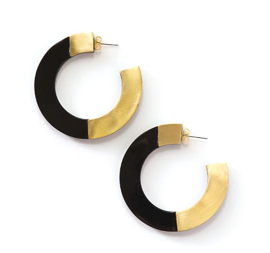 Retro Horn + Brass Blocked Hoops