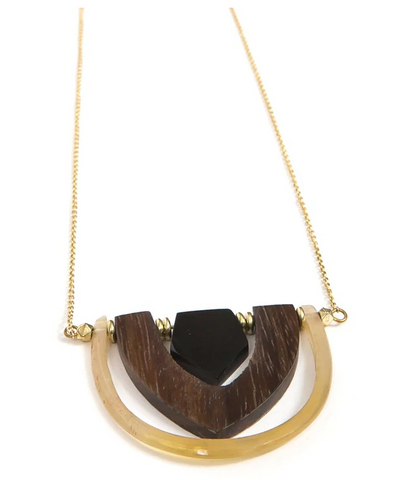 Interconnection Horn and Wood Necklace