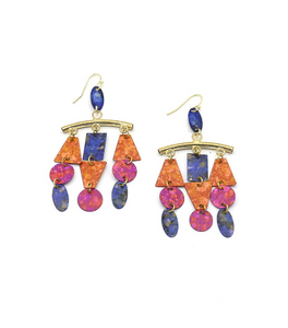 Circus Painted Chandelier Earrings