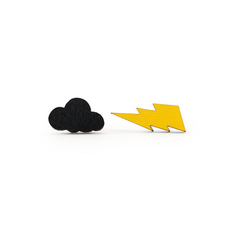 Storm Cloud and Lightning Bolt Earrings