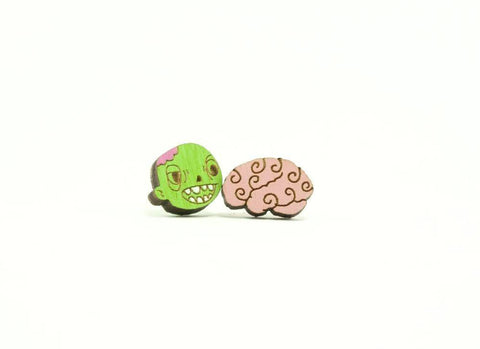 Zombie and Brain Earrings
